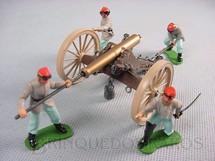 1. Brinquedos antigos - Britains - Canhão de campanha 1880 completo com quatro Soldados Confederados Década de 1960