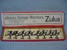 1. Brinquedos antigos - Britains - Conjunto completo de Guerreiros Zulus Série África Savage Warriors Década de 1930