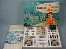 1. Brinquedos antigos - Philips - Conjunto Engenheiro Eletrônico Modelo EE20 completo perfeito estado com Manual componentes e cartelas lacradas Década de 1960