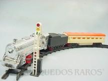 1. Brinquedos antigos - Estrela - Expresso Fumacinha Conjunto com Locomotiva a vapor Carro de Passageiros sinal e trilhos Ano 1975