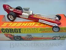 1. Brinquedos antigos - Corgi Toys - Santa Pod Raceway Commuter Dragster Década de 1970