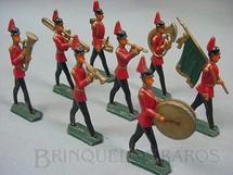 1. Brinquedos antigos - Sem identificação - Conjunto completo de oito soldados em banda uniforme preto e vermelho Semi-Flat forma Schneider