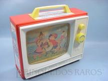 1. Brinquedos antigos - Fisher Price - Caixa de Música Music Box TV Com as Melodias London Bridge e Row Row Row Your Boat Década de 1960
