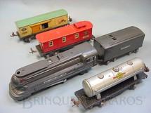 1. Brinquedos antigos - Lionel - Conjunto completo com locomotiva a vapor 1688E e 3 vagões de carga 1679  1680 e 1682 Ano 1935