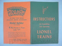 1. Brinquedos antigos - Lionel - Manual Instructions For Assembling and Operating Lionel Trains 40 páginas Capa Verde Copyright 1946