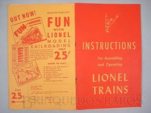 1. Brinquedos antigos - Lionel - Manual Instructions For Assembling and Operating Lionel Trains 40 páginas Capa Vermelha Copyright 1947
