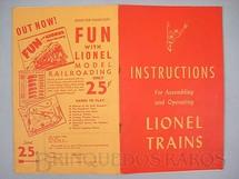1. Brinquedos antigos - Lionel - Manual Instructions For Assembling and Operating Lionel Trains 40 páginas Capa Vermelha Copyright 1947