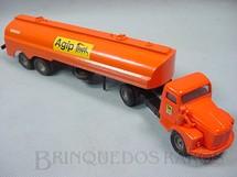 1. Brinquedos antigos - Juê - Cavalo Mecânico Scania Vabis L76 com carreta Agip