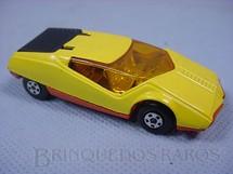 1. Brinquedos antigos - Matchbox - Inbrima - Datsun 126 X Superfast amarelo com tampa do motor preta Brazilian Matchbox Inbrima 1970