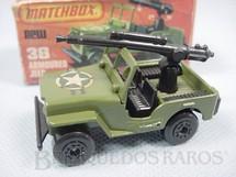 1. Brinquedos antigos - Matchbox - Armoured Jeep Willys com canhão Superfast verde oliva