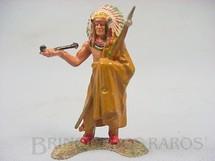 1. Brinquedos antigos - Casablanca e Gulliver - Chefe índio de pé com Cachimbo da Paz cópia Elastolin Ano 1973