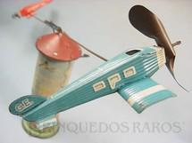 1. Brinquedos antigos - Sem identificação - Avião azul com 11,00 cm de comprimento Made in US Zone Década de 1950