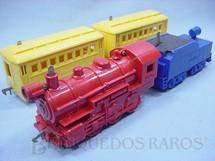1. Brinquedos antigos - Schilling - Conjunto com locomotiva a vapor e dois Carros de Passageiros Importado e distribuído pela Estrela Ano 1948