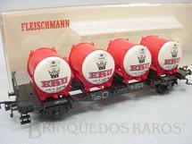 1. Brinquedos antigos - Fleischmann - Vagão prancha com containers Cerveja Eku Década de 1970