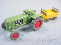 1. Brinquedos antigos - Wiking - Trator agrícola Deutz com reboque. Década de 1960