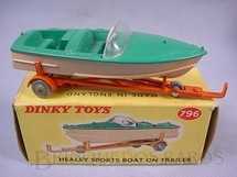 1. Brinquedos antigos - Dinky Toys - Lancha Healey Sports Boat on Trailer Década de 1960
