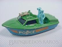 1. Brinquedos antigos - Matchbox - Inbrima - Police Launch Superfast verde Brazilian Matchbox Inbrima 1970