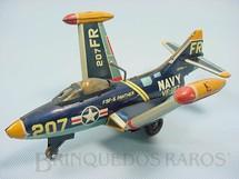 1. Brinquedos antigos - Modern Toys e Masudaya Toys - Avião de caça Panther F9F com asas dobráveis 18,00 cm de comprimento Década de 1960