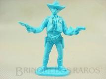 1. Brinquedos antigos - Casablanca e Gulliver - Xerife de pé com dois revolveres Plástico azul Década de 1980