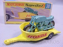 1. Brinquedos antigos - Matchbox - Honda Motorcycle With Trailer Superfast Transitional Weels