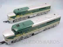 1. Brinquedos antigos - Gilbert - Conjunto de locomotivas diesel AA American Flyer Números 475 motorizada e 474 dummy Década de 1960