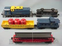 1. Brinquedos antigos - Lionel - Conjunto completo com locomotiva diesel 614 Caboose 6027 e três vagões de carga Alaska Set Ano 1959 a 1960