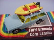 1. Brinquedos antigos - Siku-Rei - Ford Granada azul com Bote à motor Brasilianische Siku Alfema