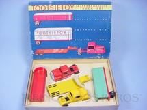 1. Brinquedos antigos - Tootsietoy - Conjunto Completo Interchangeable Truck Set com dois Cavalos Mecânicos e três Carretas Década de 1950