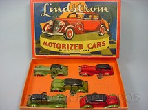 1. Brinquedos antigos - Lindstrom - Conjunto com cinco carros Lindstrom Motorized Cars with Trailers Década de 1930