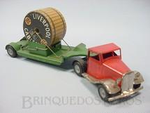 1. Brinquedos antigos - Tri Ang Minic - Cavalo Mecânico e Carreta com carretel de madeira Articulated Cable Lorry Minic 22,00 cm de comprimento Década de 1940