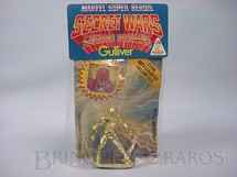1. Brinquedos antigos - Casablanca e Gulliver - Visão de plástico metalizado dourado Série Secret Wars completo com Mensagem Secreta Década de 1980
