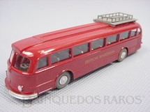 1. Brinquedos antigos - Wiking - Ônibus Mercedes Benz 6600 vermelho com bagageiro e motorista Deutsche Bundesbahn Década de 1960