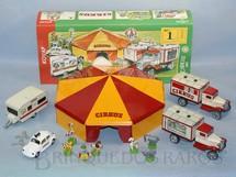 1. Brinquedos antigos - Kovap - Conjunto de Circo completo com Tenda dois Caminhões um Trailer um Volkswagen sedan Palhaço e seis Animais de madeira