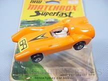 1. Brinquedos antigos - Matchbox - Inbrima - Turbo Fury Rola-Matics laranja Brazilian Matchbox Inbrima Década de 1970 acompanha Blister original aberto