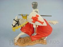 1. Brinquedos antigos - Timpo Toys - Soldado Cruzado a cavalo com Escudo e Lança Década de 1970