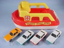 1. Brinquedos antigos - Elka - Conjunto Ferry Boat Elka com quatro carros semelhantes ao Dodge Polara Década de 1980