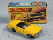 1. Brinquedos antigos - Matchbox - Mercedes Benz 230 SL Superfast Transitional Weels amarelo