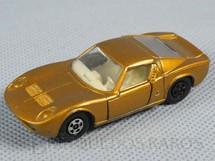 1. Brinquedos antigos - Matchbox - Lamborghini Miura Superfast Transitional Weels dourado