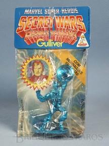 1. Brinquedos antigos - Casablanca e Gulliver - Capitão América de plástico metalizado azul Série Secret Wars completo com Mensagem Secreta Década de 1980