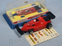 1. Brinquedos antigos - Estrela - Ferrari T-4 Fórmula 1 Allan Prost Aerofólios pretos com Caixa plástica e Decais originais Década de 1980