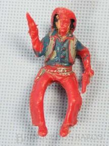 1. Brinquedos antigos - Casablanca e Gulliver - Cowboy montado a cavalo com dois revolveres Plástico vermelho pintado Década de 1960