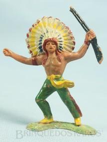 1. Brinquedos antigos - Casablanca e Gulliver - Chefe índio avançando com rifle Cópia Elastolin Ano 1973