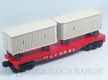 1. Brinquedos antigos - Lionel - Vagão Prancha com duas Carretas 6440 Flat Car with Vans Ano 1967