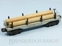 1. Brinquedos antigos - Lionel - Vagão Prancha com Toras 2411 Flat Car with Logs Ano 1947