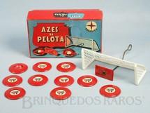 1. Brinquedos antigos - Estrela - Jogo de Botão Azes da Pelota com time do São Paulo Futebol Clube Completo com Trave e goleiro Ano 1960