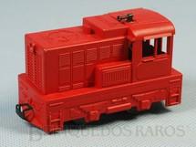 1. Brinquedos antigos - Atma - Locomotiva Manobreira Diesel vermelha Sem indicação de ferrovia Década de 1960