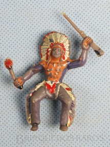 1. Brinquedos antigos - Casablanca e Gulliver - Chefe índio montado a cavalo com rifle e tocha Década de 1960