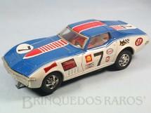 1. Brinquedos antigos - Taiyo - Corvette Stingray 1974 Nascar com 26,00 cm de comprimento Azul Década de 1970