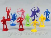 1. Brinquedos antigos - Sem identificação - Conjunto completo com 10 figuras de Super Heróis brinde Pepsi Cola Década de 1980