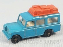 1. Brinquedos antigos - Matchbox - Land Rover Safari azul Black plastic Regular Wheels